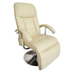 vidaXL Fotel TV z funkcją masażu, Kremowy (8718475832690)