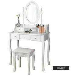 SELSEY Toaletka Shalow Dualle 80 cm z owalnym lustrem i taboretem (5903025228181)
