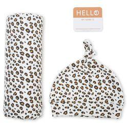 zestaw kocyk + czapka gepard marki Lulujo