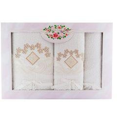 Malwa Ekskluzywny komplet 3 białych ręczników z bawełny