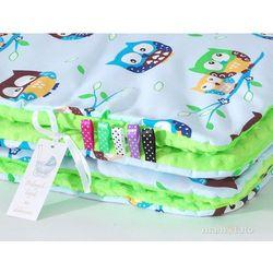 MAMO-TATO Komplet kocyk Minky do wózka + poduszka Sówki błękitne / jasna zieleń