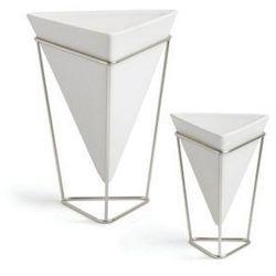 - wazon/pojemnik dekoracyjny trigg - 2 szt - nikiel   biały marki Umbra