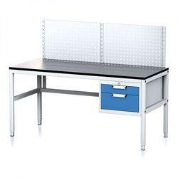 Stół warsztatowy MECHANIC II z panelem perforowanym, 1600 x 700 x 745-985 mm, 2 kontenery szufladowe, szary/niebieski