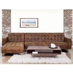 Sofa brązowa - kanapa - skórzana - rozkładana - narożnik - ABERDEEN - produkt z kategorii- Narożniki