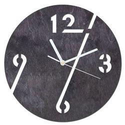 Drewniany zegar na ścianę Cyfry z białymi wskazówkami, kolor czarny