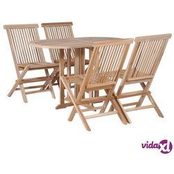 Vidaxl składany stół jadalniany i 4 krzesła, lite drewno tekowe