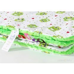 kocyk minky dwustronny żabki / jaskrawa zieleń marki Mamo-tato
