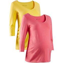 Shirt ciążowy z rękawami 3/4 (2 szt.), bawełna organiczna bonprix żółty tulipan + jasnoróżowy - s