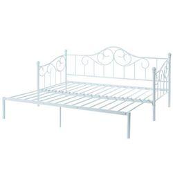 Łóżko SEBILLE – wysuwane i rozkładane – metal – 90 × 200 cm – kolor biały
