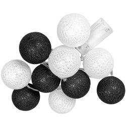 Świecące kule led, czarno-biały Cotton Balls