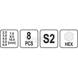 Yato Zestaw kluczy trzpieniowych hex z rękojeścią 8cz / yt-05583 / - zyskaj rabat 30 zł (5906083055836)