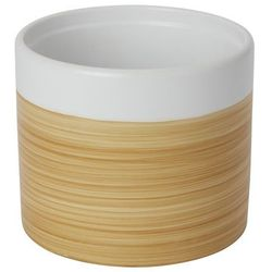 Goodhome Doniczka ceramiczna ozdobna 14 cm efekt drewna (3663602441007)