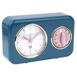 Budzik, zegar stojący NOSTALGIA blue z timerem kuchennym by pt,, kolor niebieski