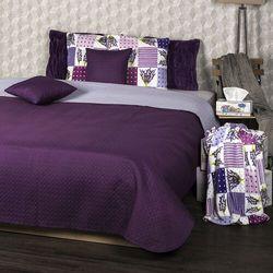 narzuta na łóżko doubleface fioletowy/jasnofioletowy, 220 x 240 cm, 2x 40 x 40 cm marki 4home
