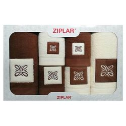 KOMPLET ręczników 6 szt. ZIPLAR brązowy/ekri