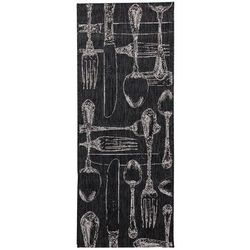 Dekoria Dywan Cottage Cutlery black/wool 60x180cm, 60x180cm