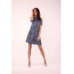 Niebieska rozkloszowana sukienka wiązana na karku, Nommo, 34-44