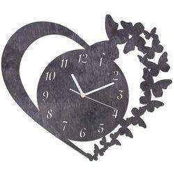 Drewniany zegar na ścianę Serce z motylkami z białymi wskazówkami, kolor czarny