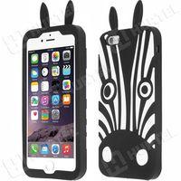 Gumowe etui 3D case zebra iPhone 6S 6 czarny z kategorii Futerały i pokrowce do telefonów