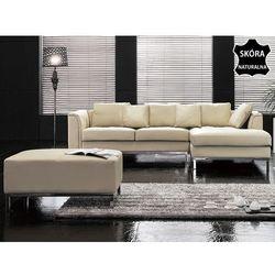 Nowoczesna sofa z pufa ze skóry naturalnej kolor bezowy L - kanapa OSLO, produkt marki Beliani
