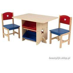 KidKraft Drewniany Stolik z pojemnikami i krzesełkami w gwiazdki