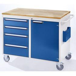 Rau Stół warsztatowy, ruchomy,4 szuflady, 1 drzwi, blat roboczy z drewna