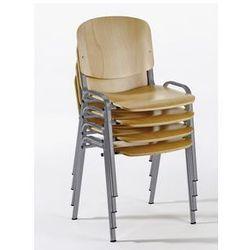 Krzesło do ustawiania w stos, ergonomiczny kształt,imit. buku / szkielet w kolorze aluminium marki Unbekannt