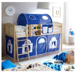 Ticaa kindermöbel Ticaa łóżko z drabinką eric country sosna naturalna/niebieski-biały (4250393880789)