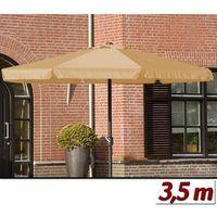 Wideshop Duży parasol ogrodowy o średnicy 350 cm z korbą - beżowy