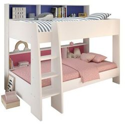 Łóżko piętrowe lenny – 2 x 90 × 200 cm – półki – dwustronne tło różowe lub niebieskie marki Vente-unique.pl