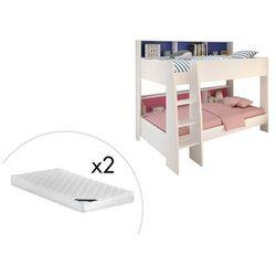 Łóżko piętrowe lenny – 2 × 90 × 200 cm – półki – dwustronne tło różowe lub niebieskie, w zestawie z materacem marki Vente-unique.pl