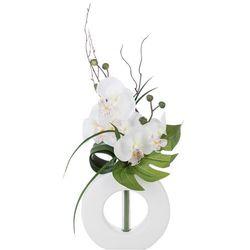 Sztuczna orchidea, w oryginalnej doniczce, sztuczne kwiaty, uniwersalna dekoracja, ozdoba, białe kwiaty, biała doniczka, marki Atmosphera créateur d'intérieur