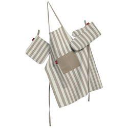 Dekoria Komplet kuchenny fartuch,rękawica i łapacz, beżowo białe pasy (1,5cm), kpl, Quadro