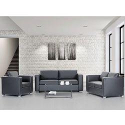 Sofa skórzana czarna 2 x sofy, 1 x fotel HELSINKI, Beliani z Beliani
