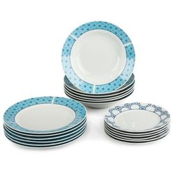 18-częściowy zestaw talerzy Klaudia, porcelana, niebieski, kolor niebieski