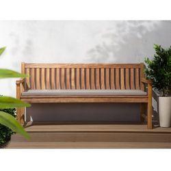 Beliani Ławka ogrodowa drewniana 180 cm poducha szaro-beżowa java (4260586357295)