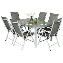 Meble ogrodowe aluminiowe MODENA 6+1 - Srebrny - Srebrny - produkt z kategorii- Pozostałe meble ogrodowe