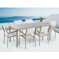 Meble ogrodowe - stół granitowy – cała płyta - 180 cm szary polerowany z 6 białymi krzesłami - GROSSETO - produkt z kategorii- Zestawy ogrodowe