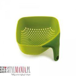 Mały, kwadratowy durszlak z silikonową rączką jj 40046 zielony plus wyprodukowany przez Joseph joseph