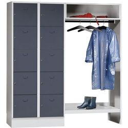 Eugen wolf System garderob ze schowkami,10 schowków po lewej stronie, 10 wieszaków na ubrania