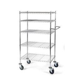 Wózek stołowy z kratą drucianą, z półkami, dł. x szer. x wys. 760x460x1670 mm, 5