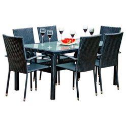 Zestaw mebli ogrodowych stół i krzesła z technorattanu Oktawiusz czarny, BG-0031