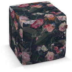 Dekoria Pufa kostka, wielobarwne kwiaty na ciemnym tle, 40 × 40 × 40 cm, Gardenia