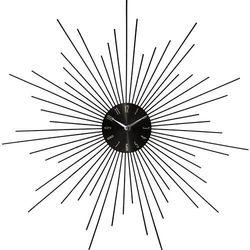 Zegar ścienny SUN w kolorze czarnym, okrągły - Ø50 cm (3560234537767)