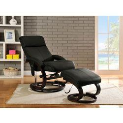 Fotel masujący RODRIGO ze skóry - Czarny, kolor czarny