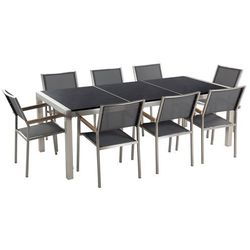 Beliani Meble ogrodowe - stół granitowy 220 cm czarny polerowany z 8 szarymi krzesłami - grosseto