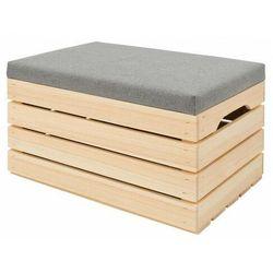 Naturalna sosnowa skrzynia do przechowywania Alva 3X- 38 kolorów, skrzynia_drewniana_tapicerowana_naturalna_60x40x35