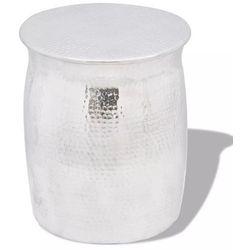Vidaxl Stolik kawowy/stołek z młotkowanego aluminium, kolor srebrny