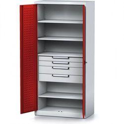 Szafa warsztatowa mechanic, 1950 x 920 x 500 mm, 4 półki, 4 szuflady, czerwone drzwi marki B2b partner