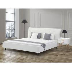 Łóżko białe - 160x200 - łóżko skórzane ze stelażem - SAVERNE (łóżko)